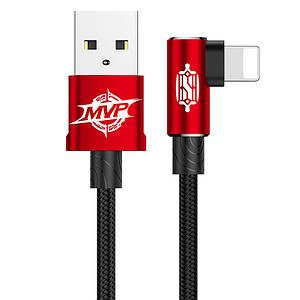 Кабель Lightning Baseus MVP Elbow з кутовим коннектором для iPhone/iPad/iPod CALMVP-A09 (Чорно-червоний, 1м)