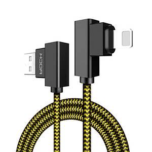 Кабель Lightning Rock з двома кутовими коннекторами для заряджання і передачі даних RCB0519 (Жовтий з чорним, 1м)