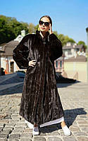 Шуба норковая Батал Халат, длинная 120 см, Scanblack Модель 290398476, фото 1