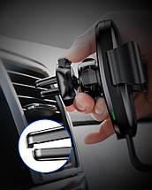 Універсальний автомобільний тримач для телефону c бездротовим зарядним пристроєм QI Baseus 10W WXYL-0S (Срібляста), фото 3