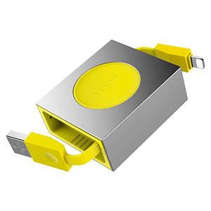 Кабель Lightning Retractable Rock RCB0547 для передачи данных и зарядки (Желтый, 0.8м)