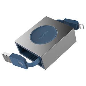 Кабель Lightning Retractable Rock RCB0547 для передачи данных и зарядки (Синий, 0.8м)