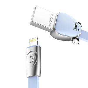 Кабель Lightning Rock Zodiac Mouse для зарядки и передачи данных, плоский RCB0501 (Голубой, 1м)