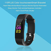 Фітнес-браслет Smart Band id115 Plus з кольоровим 0,96 дюймовим екраном (Чорний), фото 3