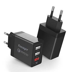 Универсальное сетевое зарядное устройство Essager Quick Charge 3.0 Qualcomm ECCQC-LL01 (Черное)