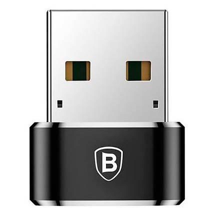 Перехідник-адаптер Baseus USB 2.0 Type-C CAAOTG-01 (Чорний), фото 2