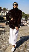 Шуба норковая женская (автоледи) с накладными карманами поперечка, шоколад. Модель 200201981