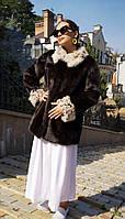 Шуба норковая женская со вставками рыси. Модель Л2002400, фото 1