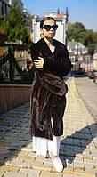 Шуба норковая женская, Халат под пояс, длинная, английский ворот.  Модель 200631, фото 1