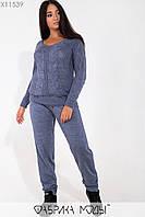 Вязаный костюм с манжетами: полувер с V-образным вырезом и брюками на резинке с кулиской X11539