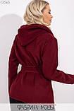 Короткое пальто-разлетайка с капюшоном, прорезными карманами и съемным поясом 13565, фото 2