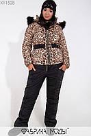 Зимний леопардовый костюм с курткой прямого кроя со съемным капюшоном c опушкой из эко меха, поясом и наладными карманами, брюками на молнии X11528, фото 1