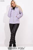 Зимний костюм из стеганной плащевки на овчине: куртка прямого кроя с капюшоном с прорезными карманами и брюками высокой посадки на кулиске 13578