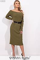 """Вязанное платье-миди с вырезом """"Анжелика"""", длинными рукавами и съемным кожаным поясом 13572"""