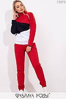 Спортивный костюм из двунити с манжетами: свитшот с высоким воротом на молнии и брюками на резинке с карманами 13575