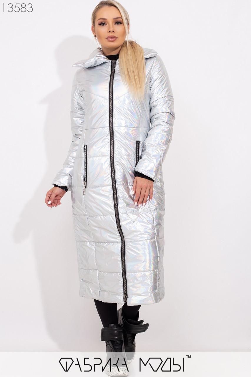 Перламутровое длинное приталенное пальто-кокон с отложным воротником на молнии и прорезными карманами на змейке 13583