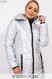 Перламутровое длинное приталенное пальто-кокон с отложным воротником на молнии и прорезными карманами на змейке 13583, фото 4