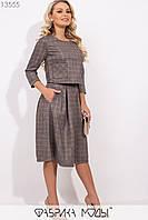 Двойка в клетку: укороченная кофта с рукавами 7/8 и накладными карманами, юбка-колокол высокой посадки на молнии сзади 13555