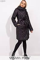Стеганное пальто на подкладе с капюшоном и шалевым воротником, на запах с  двумя завязками и съемным поясом 13579