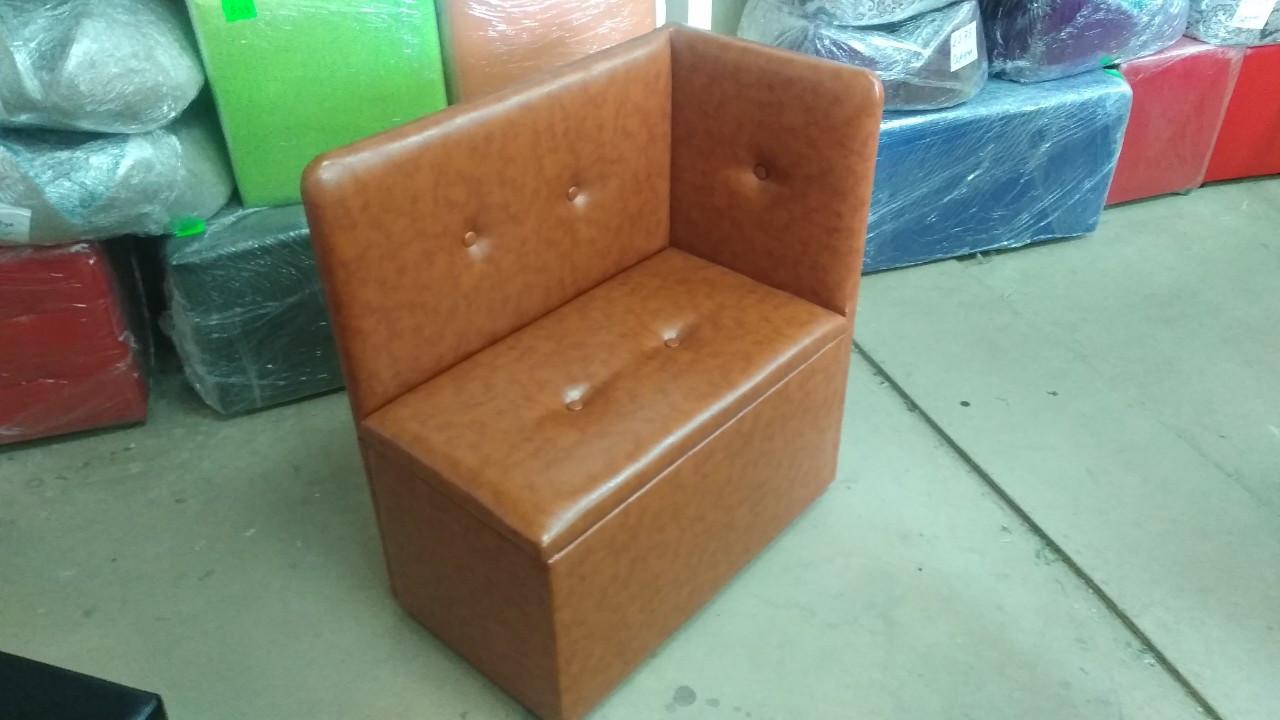 Банкетка (пуфик) со спинкой, с сиденьем и ящиком в прихожую, для обуви, магазина, спальню. - PF-039
