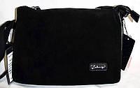 Женский черный клатч из натуральной замши на молнии 25*17 см