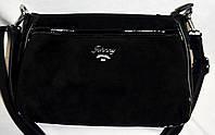 Женский черный клатч из натуральной замши на 2 отдела молнии 26*17 см