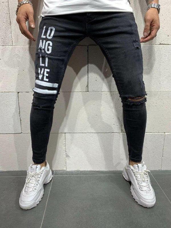 Мужские модные джинсы (черные) - Турция