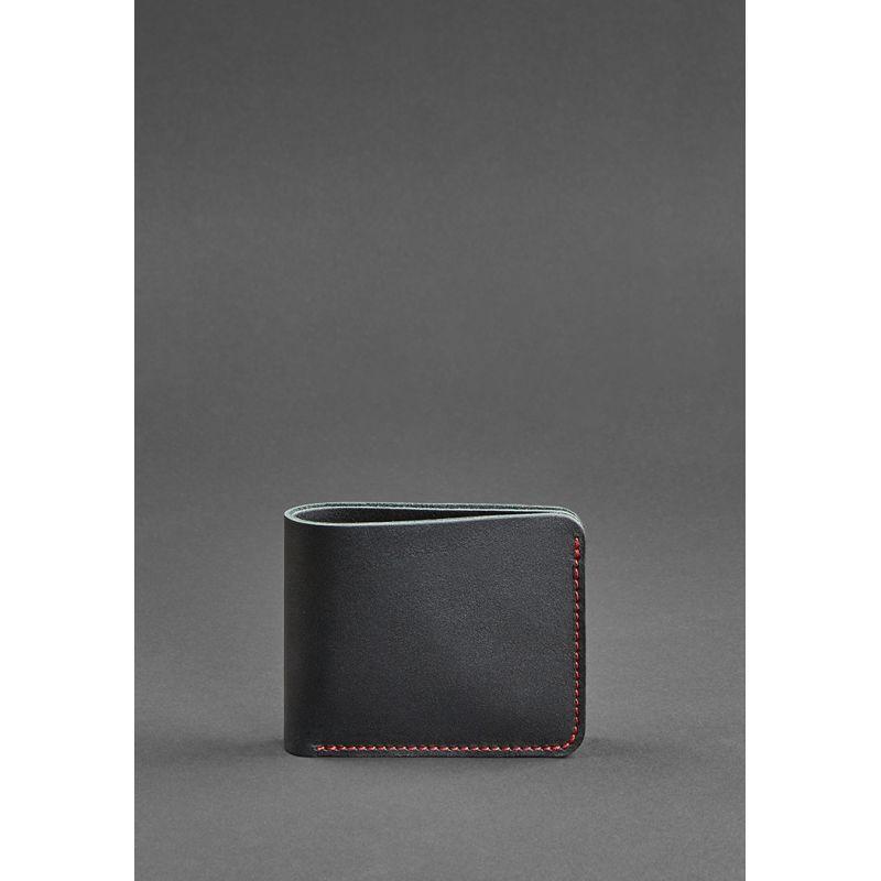 Чоловіче шкіряне портмоне 4.1 (4 кишені) чорна з червоною ниткою