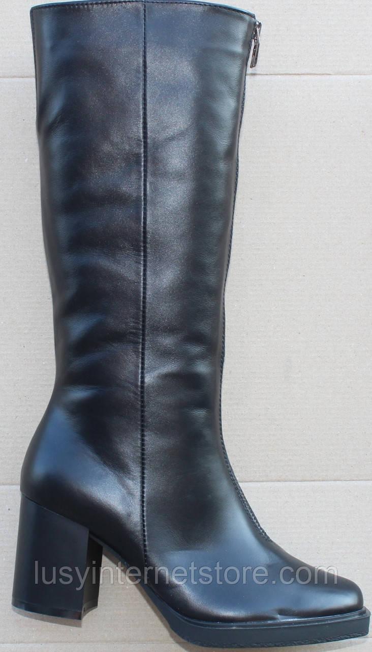 Сапоги женские зимние кожаные на каблуке от производителя модель Ф1981