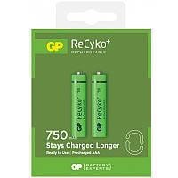 Аккумуляторы GP Batteries AAA (R03) 750mAh LSD NiMh 2шт ReCyko+ (GP75AAAHCE-U2) 1,2V
