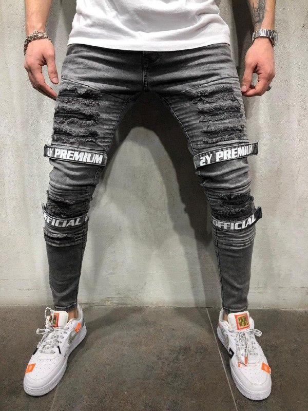 Мужские модные джинсы (серые) - Турция