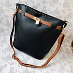 Женская сумка c косметичкой черная  (036), фото 3