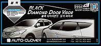 Ветровики с хром полосой, дефлекторы окон Hyundai Santa Fe 2012- (D954) Auto Clover