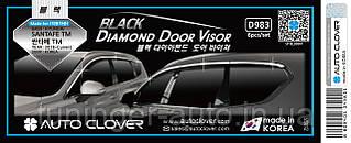 Ветровики с хром полосой, дефлекторы окон Hyundai Santa Fe 2018-> (D983) Auto Clover