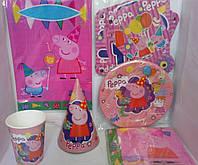 Набор посуды для украшения праздника, дня рождения свинка пеппа