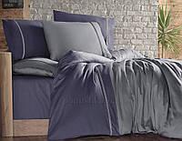 Постельное белье First choice сатин двухцветный Duman indigo Двуспальный евро комплект