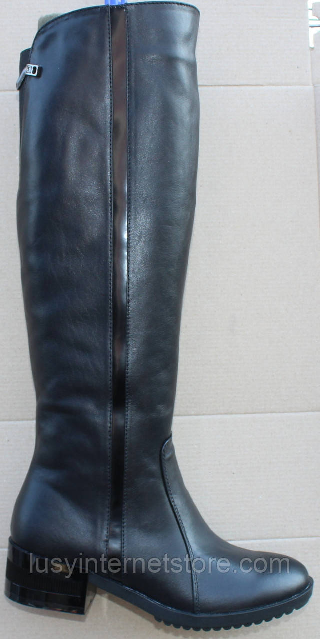 Сапоги женские зимние кожаные на каблуке от производителя модель Ф1901