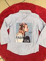 Рубашки для девочек полоска с прином сзади 134-146 р.р., фото 1