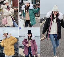 Зимняя женская куртка парка с мехом на капюшоне