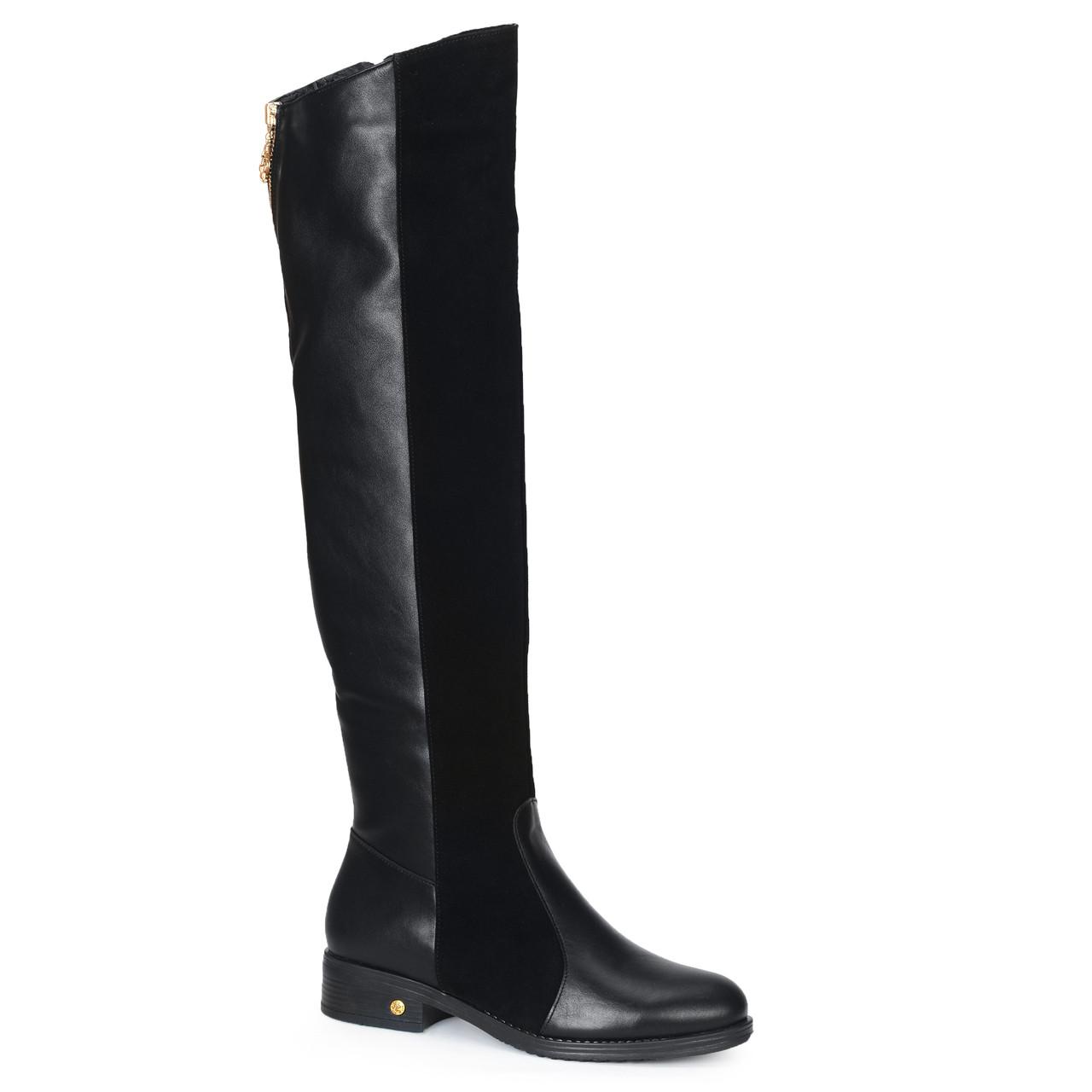 Женские кожаные замшевые полусапоги сапоги ботфорты TIFFANY на каблуке платформе Мех зима ПШ байка