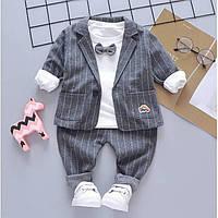 Детский Костюм-тройка для мальчиков Gap серый на 1-2-3 годика