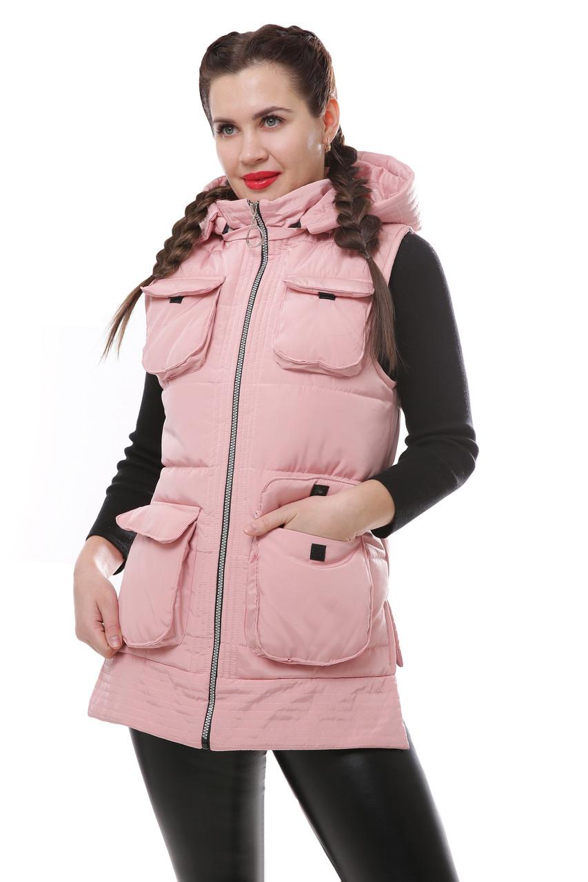 Женская демисезонная плащевая жилетка с карманами 42-46 р
