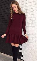 Милое платье-рюша (цвет - бордо, ткань - ангора) Размер S, M, L (розница и опт)