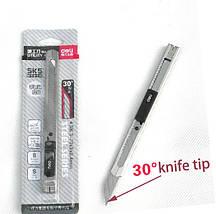 Нож канцелярский Deli 2034 серебряный, 9 мм, метал корпус, 30 градусов заточка лезвия, фото 2
