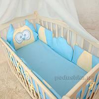 Защитное ограждение для детской кроватки Совенятко Бетис поплин  цвет голубой