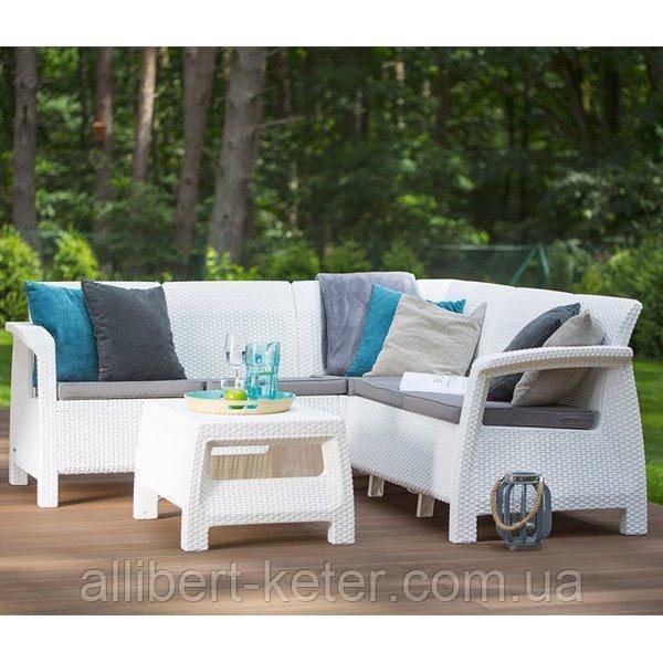 Набір садових меблів Corfu Relax Set White ( білий ) з штучного ротанга ( Allibert by Keter )