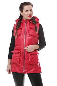 Женская красная осенняя жилетка на силиконе 42-46 р