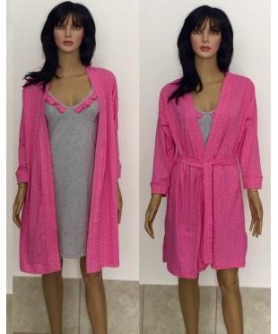 Комплект халат с ночной рубашкой с рюшами Лара 44-50 р малина