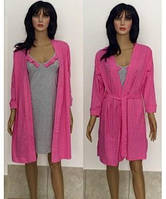 Комплект халат с ночной рубашкой с рюшами Лара 44-50 р малина, фото 1