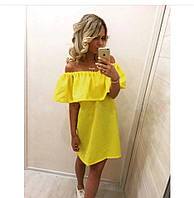 Летнее платье с рюшами (цвет - желтый, ткань - габардин) Размер S, M, L (розница и опт)
